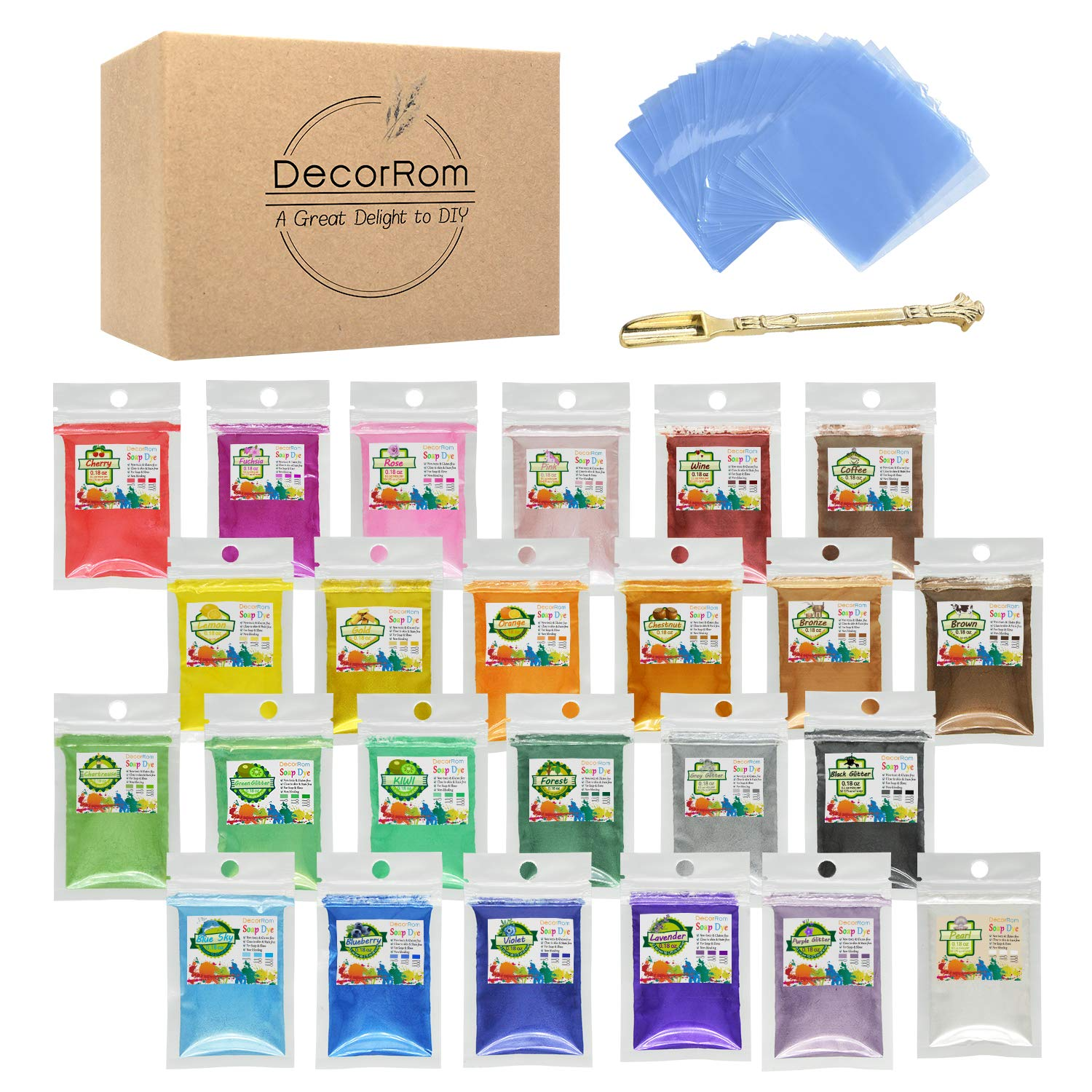 Mica Powder - 24 Color Soap Dye with 100 Shrink Wrap Bags, 1 Spoon - Skin Safe Soap Colorant Pigments for Soap Making Supplies-Cosmetic Grade Colorant for Slime,Bath Bombs,Epoxy Resin