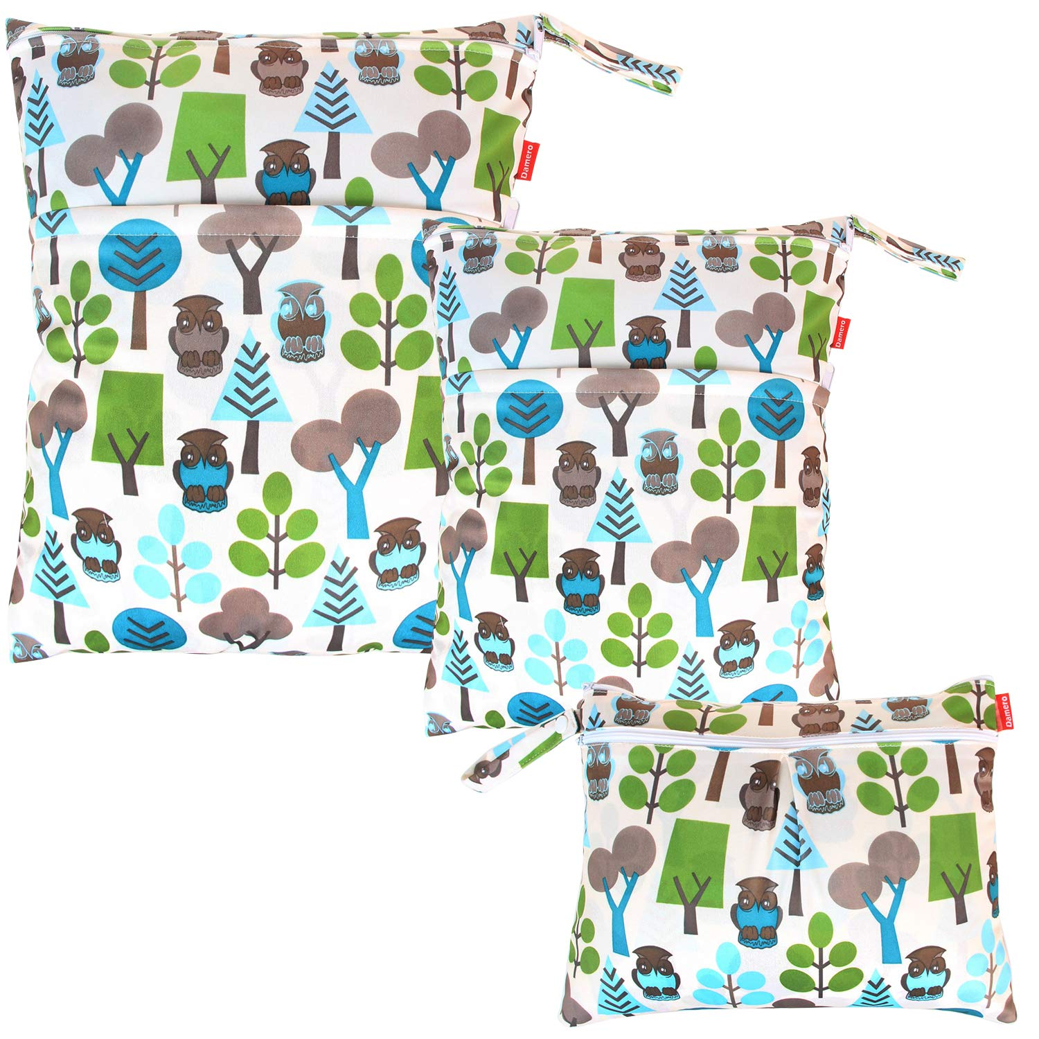 Damero 3pcs Pack Wet Dry Bag for Cloth Diapers Daycare Organizer Bag, Green Forest