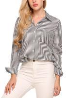 Zeagoo Womens Long Sleeve Boyfriend Loose Fit Shirt Blouse Blue Large