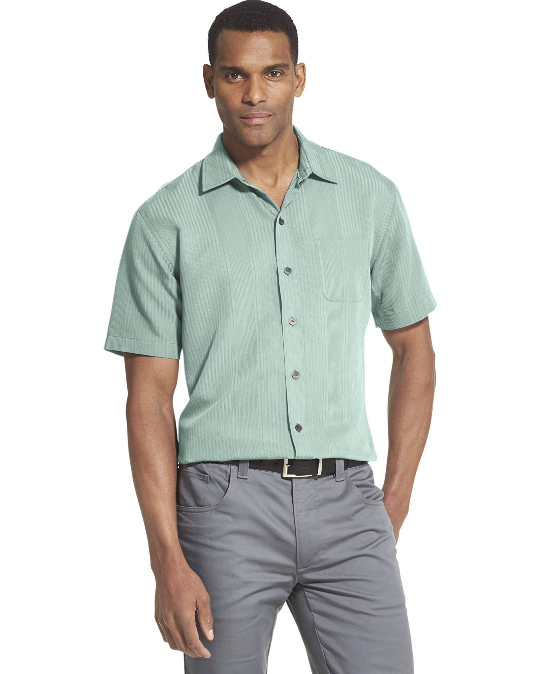 Van Heusen Men's Big and Tall Air Short Sleeve Button Down Poly Rayon Shirt (Discontinued)