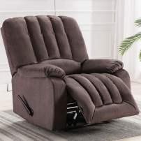 IOMOR Overstuffed Recliner Chair, Manual Fabric Soft Reclining Chair for Living Room Modern Sofa (Light Brown)