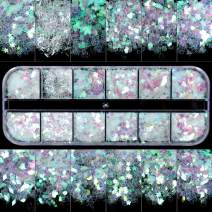 Teenitor 12 Boxes Nail Art Sequins Holographic Glitter Iridescent Mermaid Flakes Colorful Confetti Sticker Manicure Nail Art Supplies Face Jewels Hair Body DIY Decals