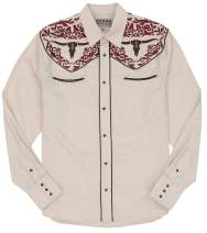 STARR Heritage Embroidered Long Sleeve Western Snap Shirt - SHC008 L BN/RD/BR