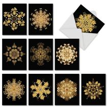 The Best Card Company - 10 Zen Blank Greeting Cards Assorted (4 x 5.12 Inch) (Not Foil) - Magnificent Mandalas AM6326OCB-B1x10