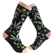 Flowers And Weed Socks Cute Funny Marijuana 420 Footwear