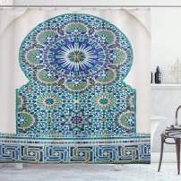 """Ambesonne Moroccan Shower Curtain, Ceramic Tile Antique East Pattern Heritage Architecture Print, Cloth Fabric Bathroom Decor Set with Hooks, 75"""" Long, Coffee Turquoise"""