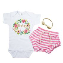 Girls 1st Birthday Outfit Pink White Stripe Shorts Boho Wreath One and Leather Knotted Bow