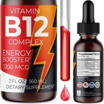 Vegan Vitamin B12 Complex Liquid Drops with Fast Absorption - Premium B Liquid Complex Vitamins B2, B3, B5, B6 & B12 - Natural Energy Boost, Healthy Immune System & Mental Focus