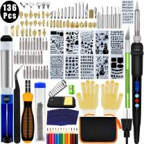 136PCS Wood Burning Kit, PETUOL Professional Soldering Iron Set with LCD Display Switch Adjustable Temperature 356-932 ℉, Creative Tool DIY Kit for Embossing/Carving/Soldering & Pyrography Tips