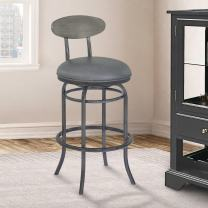 """Armen Living Davis 26"""" Counter Height Swivel Barstool in Vintage Grey Faux Leather and Mineral Finish"""