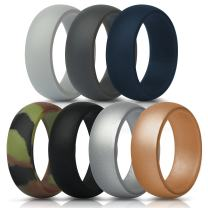 ThunderFit Silicone Rings, 7 Rings / 4 Rings / 1 Ring Wedding Bands for Men - 8.7 mm Wide - 2.5mm Thick