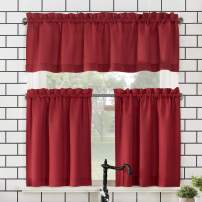 """No. 918 Martine Microfiber Semi-Sheer Rod Pocket Kitchen Curtain Valance and Tiers Set, 54"""" x 45"""" 3-Piece, Red"""