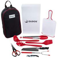 Q QUDOS Cooking & Grilling Utensil Organizer Travel Set & Carry Case, Portable Camping Utensils & Kitchen Accessories, Cookware Equipment Kit with Chopping Board, Scissors & Camp Knife, Grill Supplies