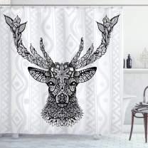 "Ambesonne Deer Shower Curtain, Aboriginal Floral Polynesian Deer Pattern Mammal Boho Design, Cloth Fabric Bathroom Decor Set with Hooks, 75"" Long, Black Gray"