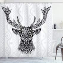 "Ambesonne Deer Shower Curtain, Aboriginal Floral Polynesian Deer Pattern Mammal Boho Design, Cloth Fabric Bathroom Decor Set with Hooks, 70"" Long, Black Gray"