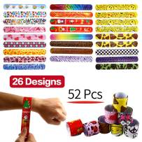 Yeonha Toys Bracelets Party,52 Pack Slap Bracelets (26 Design), Slap Bands with Colorful Hearts,Peace,Animal Prints Toys Party Favors Birthday School Classroom Prize for Kids Boys Girls Adults