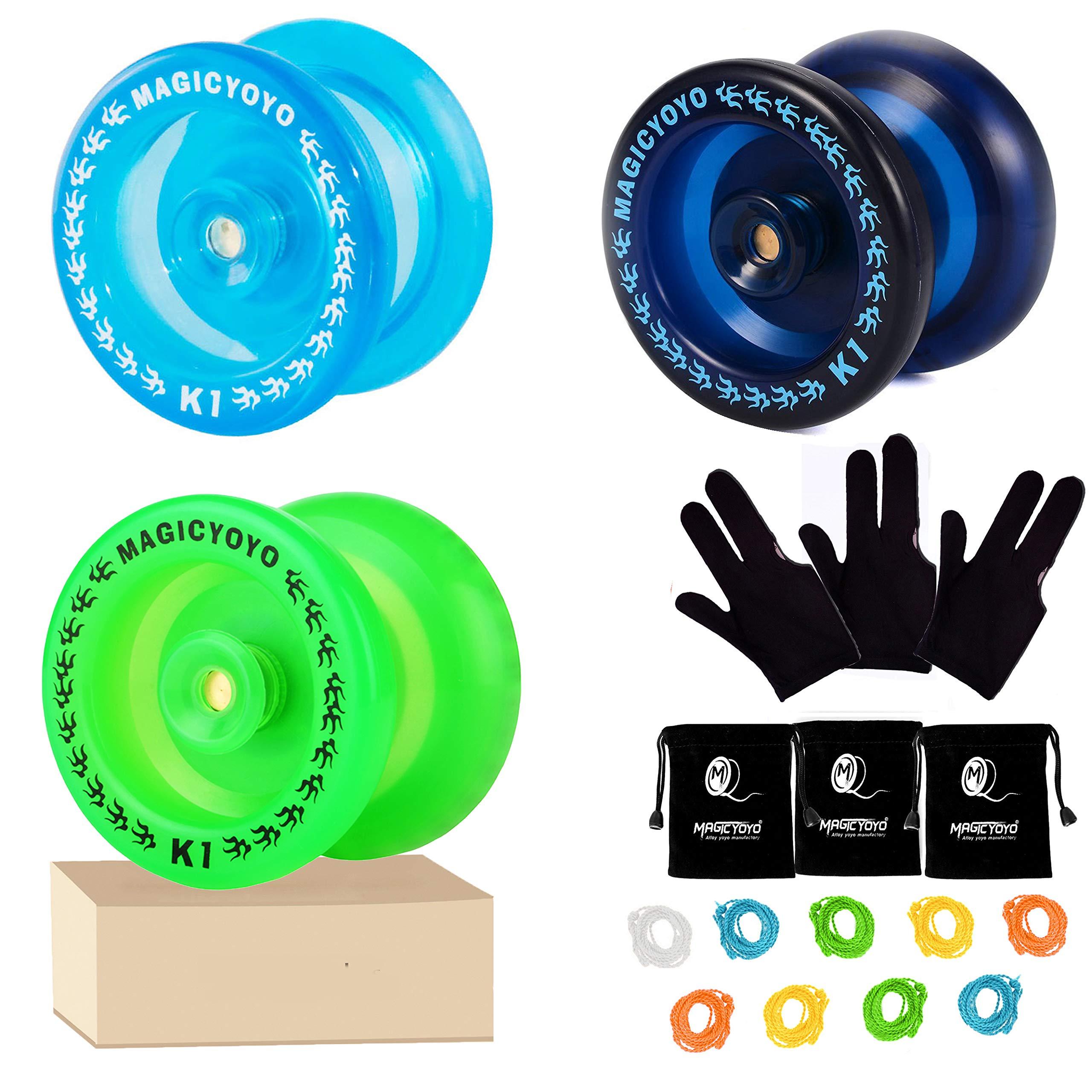 MAGICYOYO Pack of 3 Beginner Yoyos for Kids, K1-Plus Responsive YoYos with 3 Yoyo Gloves, 3 Yoyo Bags, 9 Strings, All in A Gift Box