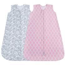 Jomolly Baby Sleeping Sack, 2 Pack Wearable Blanket (Pink/Floral) (6-12 Months)