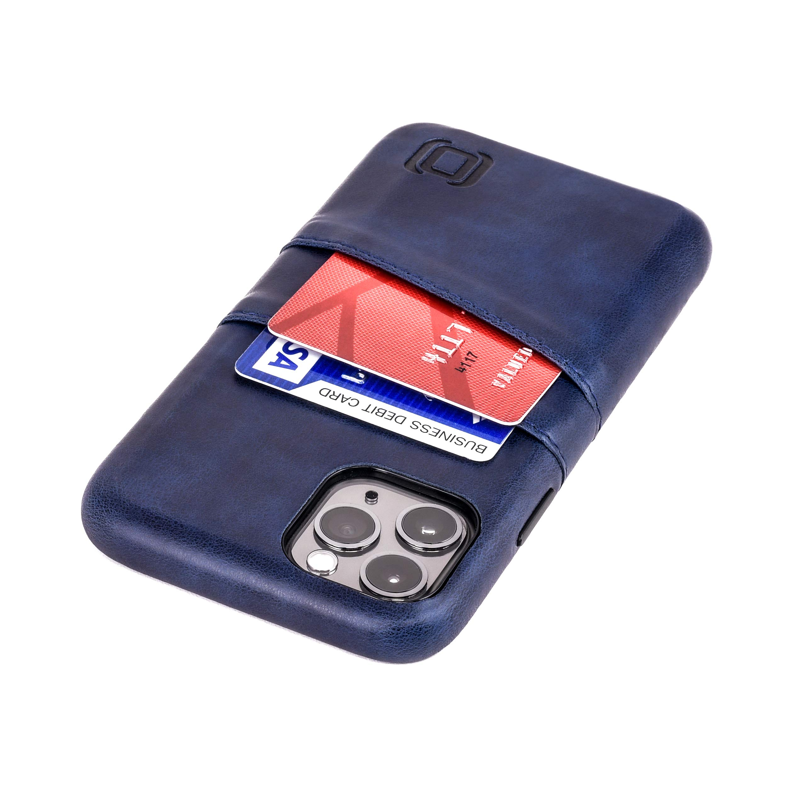 """Dockem iPhone 11 Pro Wallet Case: Built-in Metal Plate for Magnetic Mounting & 2 Credit Card Holders (5.8"""" Exec M2, Synthetic Leather, Navy Blue)"""