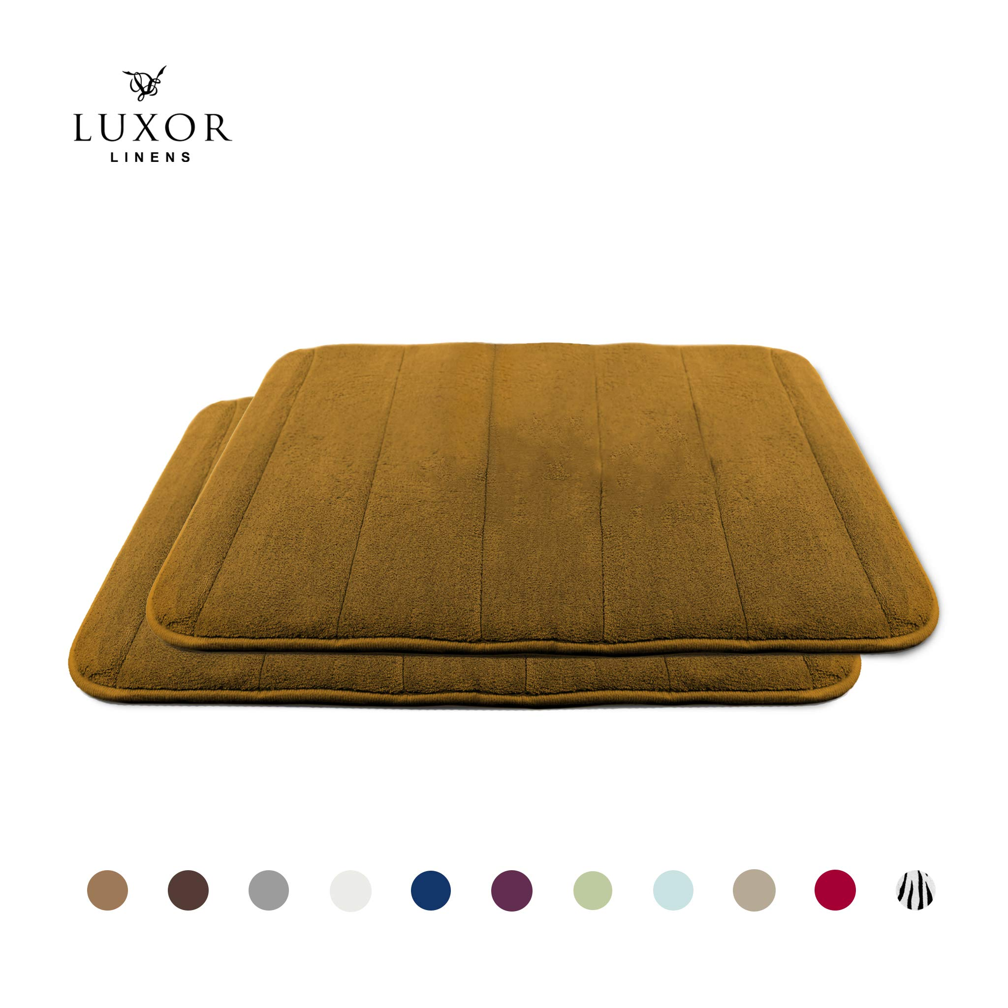 Luxor Linens - Memory Foam Bath Mat (17 x 25 inch) - Giovanni Line - Luxurious, Super Soft & Absorbent with Anti-Slip Backing - Available in a Wide Variety of Colors (2-Piece Set, Caramel)