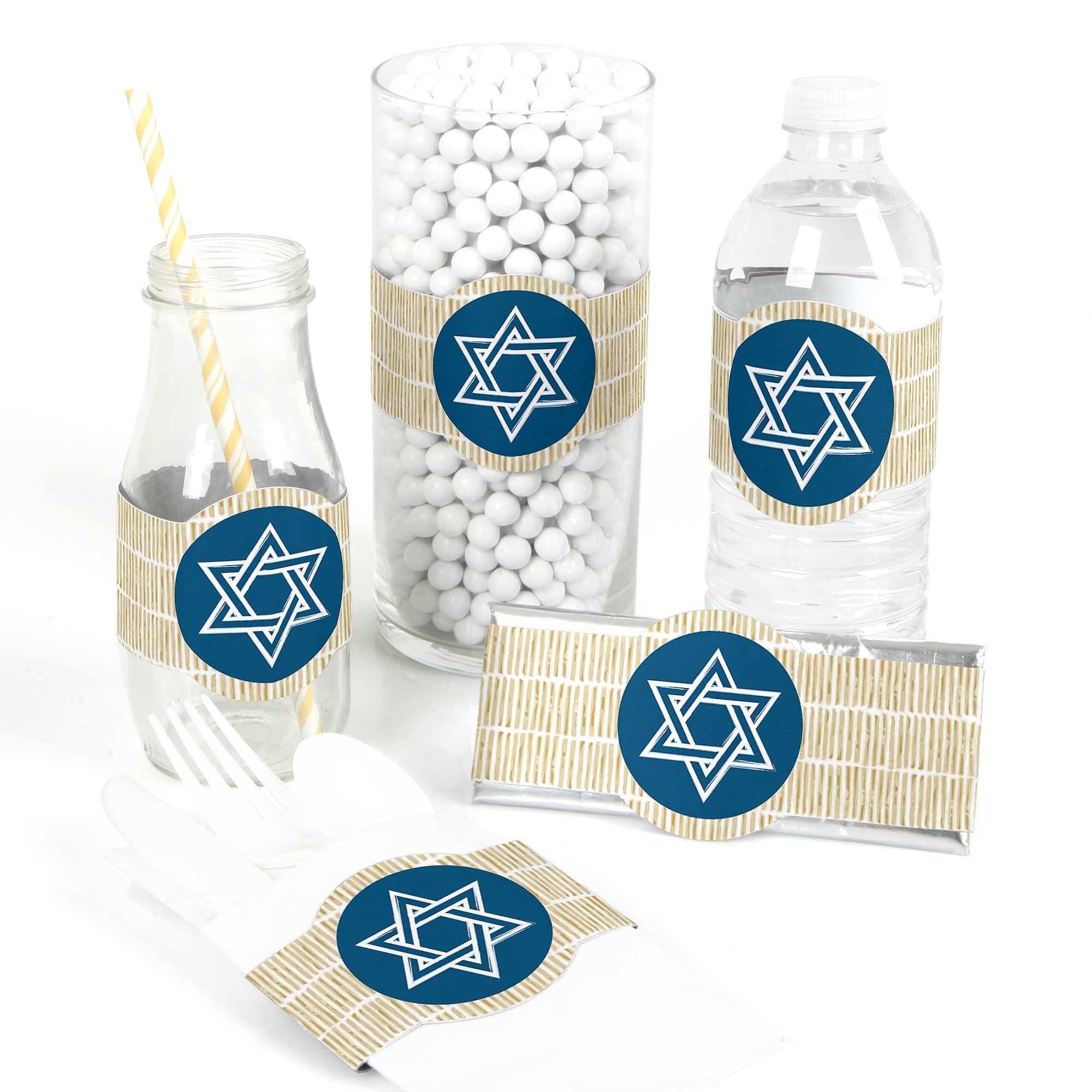 Big Dot of Happiness Happy Hanukkah - DIY Party Supplies - Chanukah Party DIY Wrapper Favors and Decorations - Set of 15