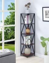 Convenience Concepts Tucson Metal 5 Tier Corner Bookcase, Cherry / Black