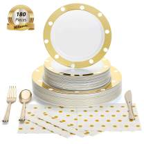 180 Pcs Serves 30, Gold Party Supplies Set | Reusable | Enough For Multiple Small Parties | Polka Dot Disposable Plastic Dinnerware | Includes Dinner Plates, Dessert Plates, Cutlery & 3-Ply Napkins