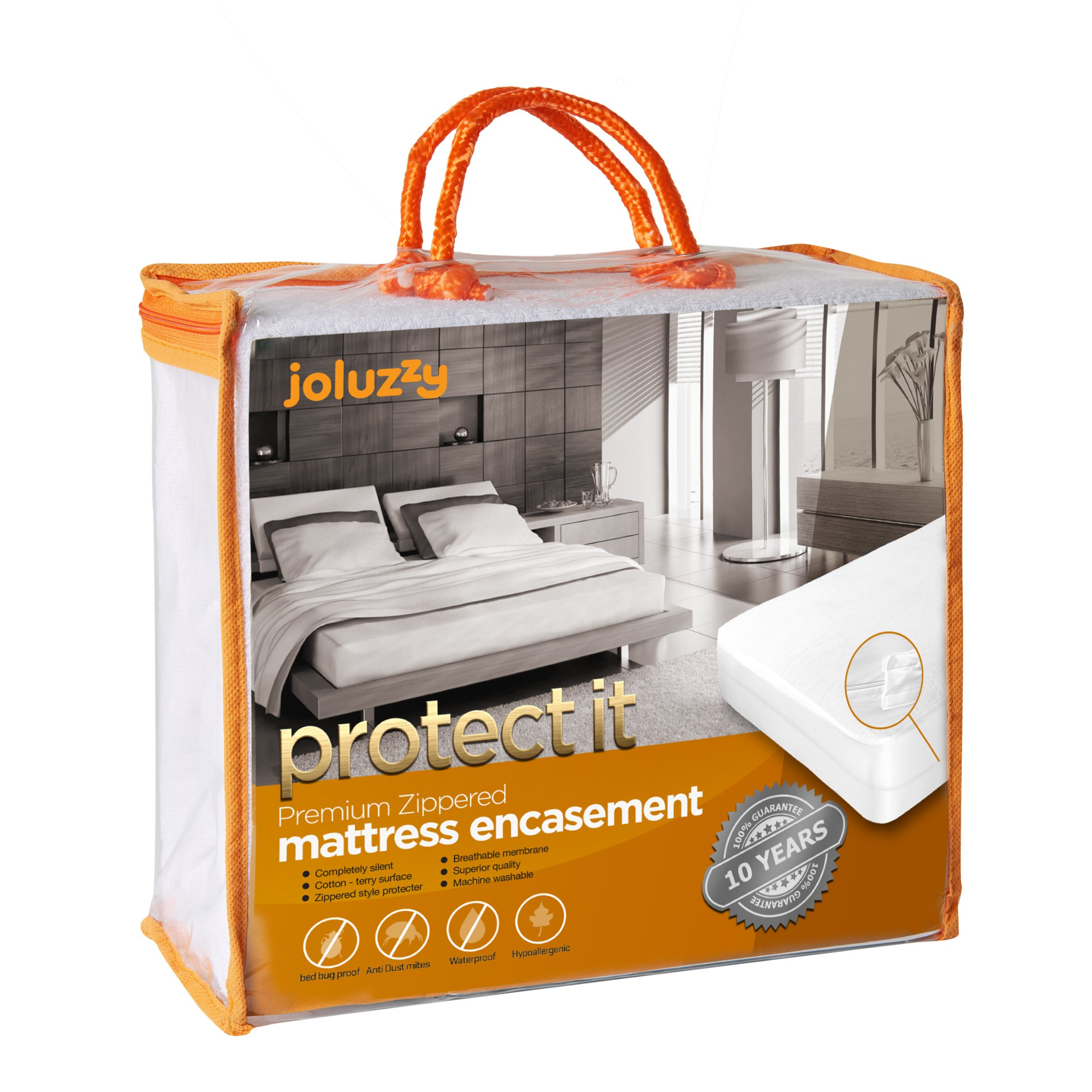 joluzzy Zippered Mattress Protector - 100% Bed Bug Proof/Waterproof Six-Sided Mattress Encasement - Cotton Terry, Breathable, Noiseless, Hypoallergenic, Vinyl-Free, Full Size