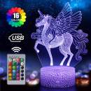 Unicorn Night Light for Kids, 3D Illusion Lamp 16 Colors Changing with Remote, Birthday and Holiday Gift for Children Girls (Unicorn1)
