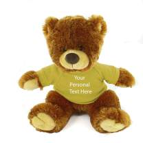 Plushland Honey Noah Teddy Bear 12 Inch, Stuffed Animal Personalized Gift - Custom Text on Shirt - Great Present for Mothers Day, Valentine Day, Graduation Day, Birthday (Yellow Shirt )