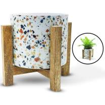 Olive + Crate ExquisiteHome Indoor Planters Handmade from Metal with Wooden Stands, Small Standing Planter Pots for Plants Indoor, Suitable for Succulents, Herbs, and Balcony Plant Pots (Stone Chips)