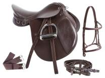 AceRugs Premium Eventing Brown Leather Show Jumping English Horse Saddle TACK Set