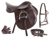 AceRugs 15 16 17 18 Brown All Purpose English Leather Horse Saddle Set Bridle REINS Leather Irons Girth