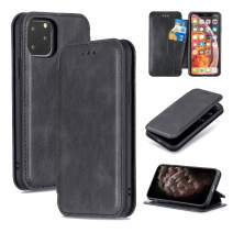 QLTYPRI iPhone 11 Case Luxury PU Leather Cover TPU Bumper with Detachable Card Slots Hands-Free Kickstand Magnetic Closure 360 Full Protection Shockproof Flip Folio Wallet Case - Black