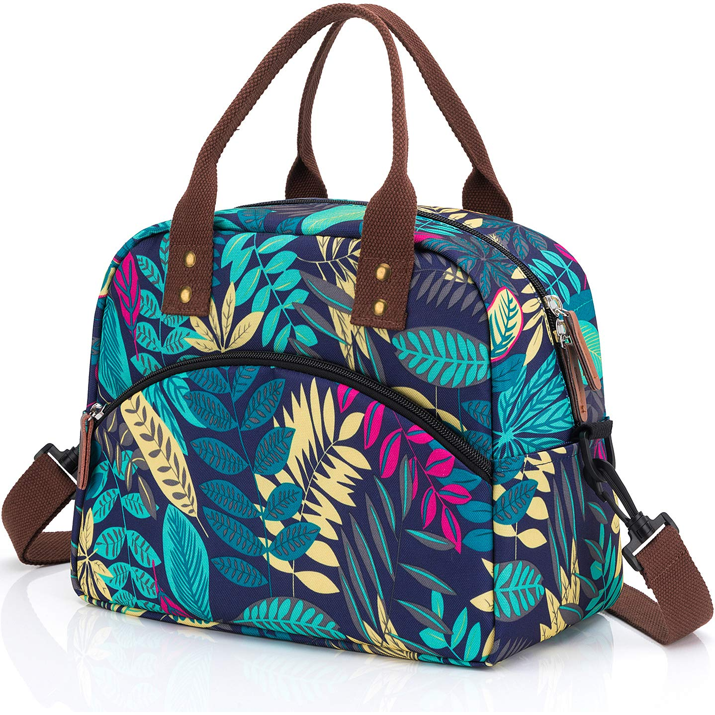 Insulated Lunch Bag with Detachable Shoulder Strap & Carry Handle,Leak Proof Reusable Lunch bag, Eco-friendly Cooler Bag Tote Bag,School Lunch Box for Kids,Men,Women (Blue Leaves)