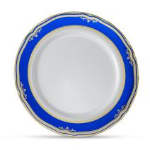 "[20 Count - 10"" Plates] Laura Stein Designer Tableware Premium Heavyweight Plastic White Dinner Plate With Blue & Gold Border Plastic Party & Wedding Plate Cobalt Blue Series Disposable Dishes"