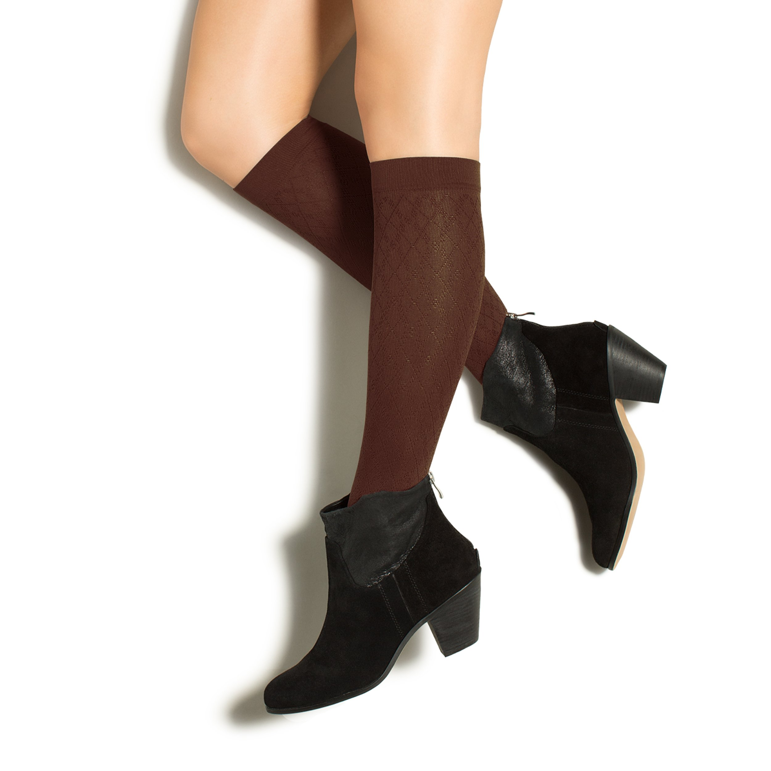 Therafirm LIGHT Women's Diamond Trouser Socks - 10-15mmHg Compression Dress Socks (Cocoa, Large)