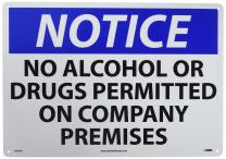 """NMC N165AC OSHA Sign, Legend """"NOTICE - NO ALCOHOL OR DRUGS PERMITTED ON COMPANY PREMISES"""", 20"""" Length x 14"""" Height, Aluminum, Black/Blue on White"""