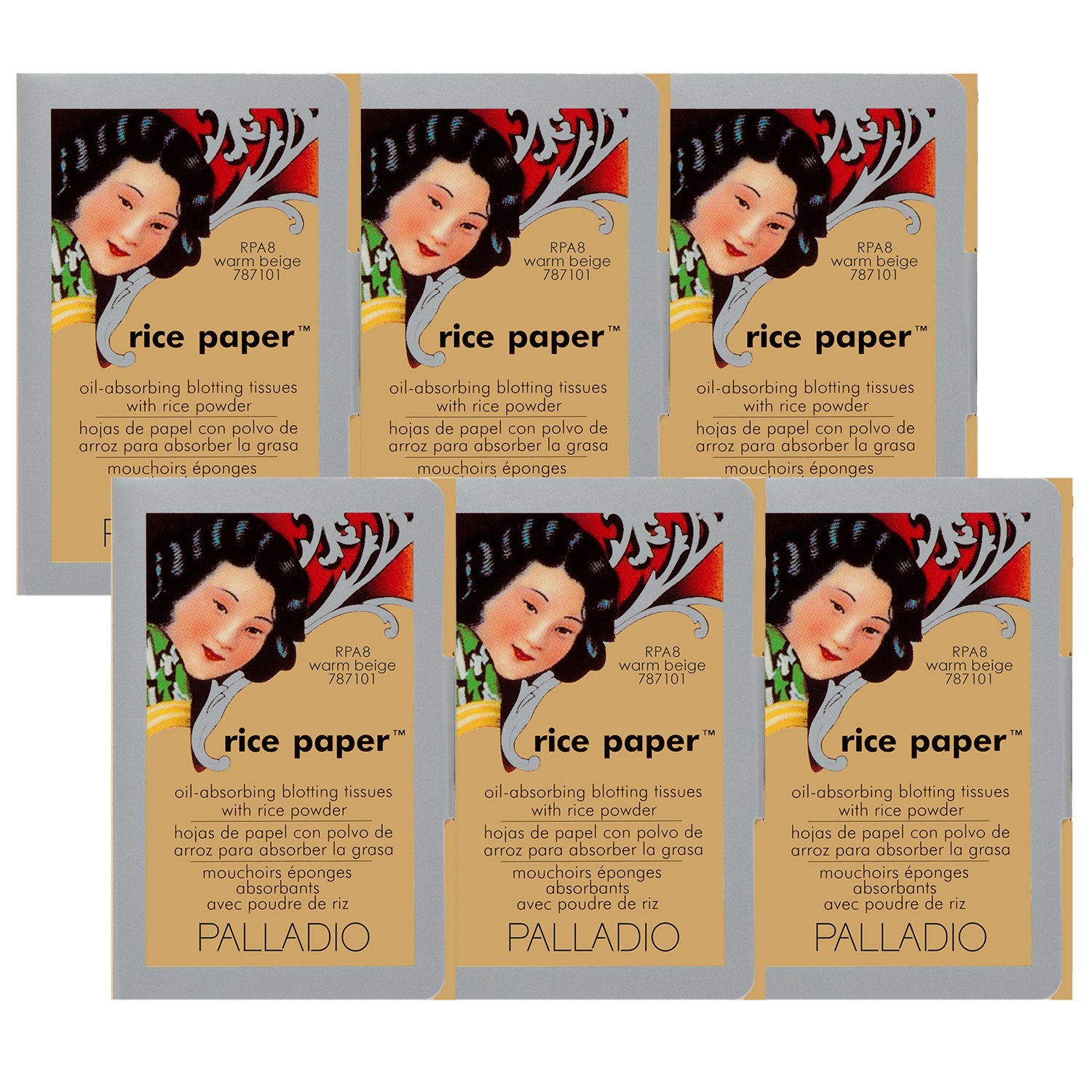 Palladio Rice Paper Tissues Warm Beige 40 Sheets (Pack of 6) Face Blotting Sheets with Natural Rice Powder