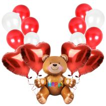 Treasures Gifted Valentine's Day Party Supplies 41 Pack Teddy Bear Foil Balloons Red Heart Foil Balloon and Red White Balloons for Wedding Birthday Baby Shower Party Decorations