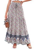 Happy Sailed Womens Boho Floral Print Elastic High Waist Pleated Ruffles Swing Long Skirts S-XL
