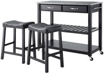 Crosley Furniture Portable Kitchen Cart with Solid Grey Granite Top and 24-inch Upholstered Saddle Stools - Black