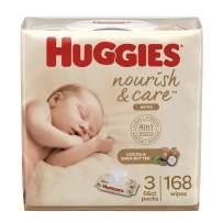 Huggies Nourish & Care Baby Wipes,  3 Packs, 168 Wipes Total