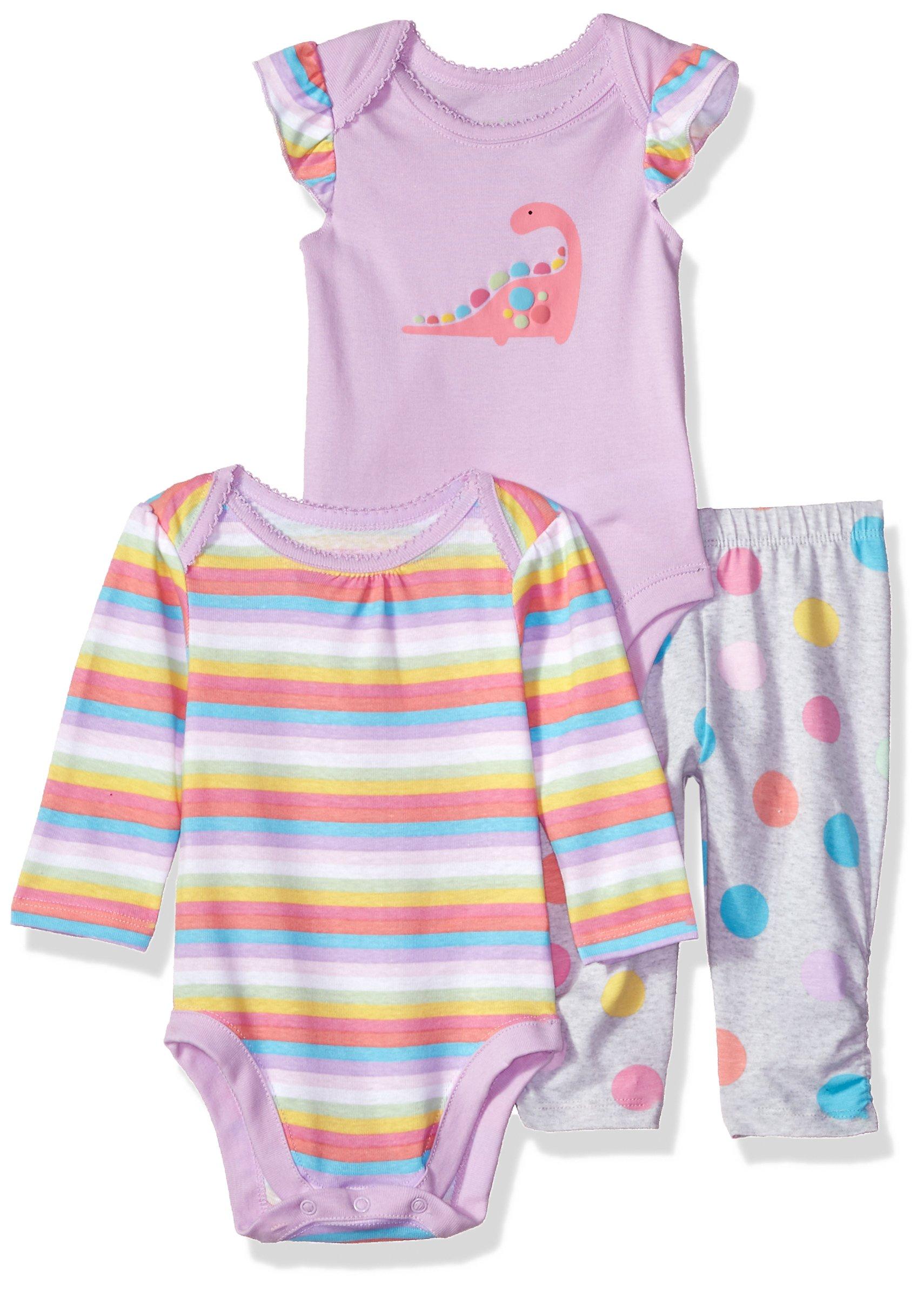 The Children's Place Baby Girls 3 Piece Princess Bodysuit Pant and Bib Playwear Bundle Set