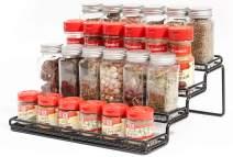 MEIQIHOME 4 Tier Spice Rack Organizer Step Shelf Countertop Spice Storage Holder, for Kitchen Cabinet Cupboard Pantry, Metal, Black