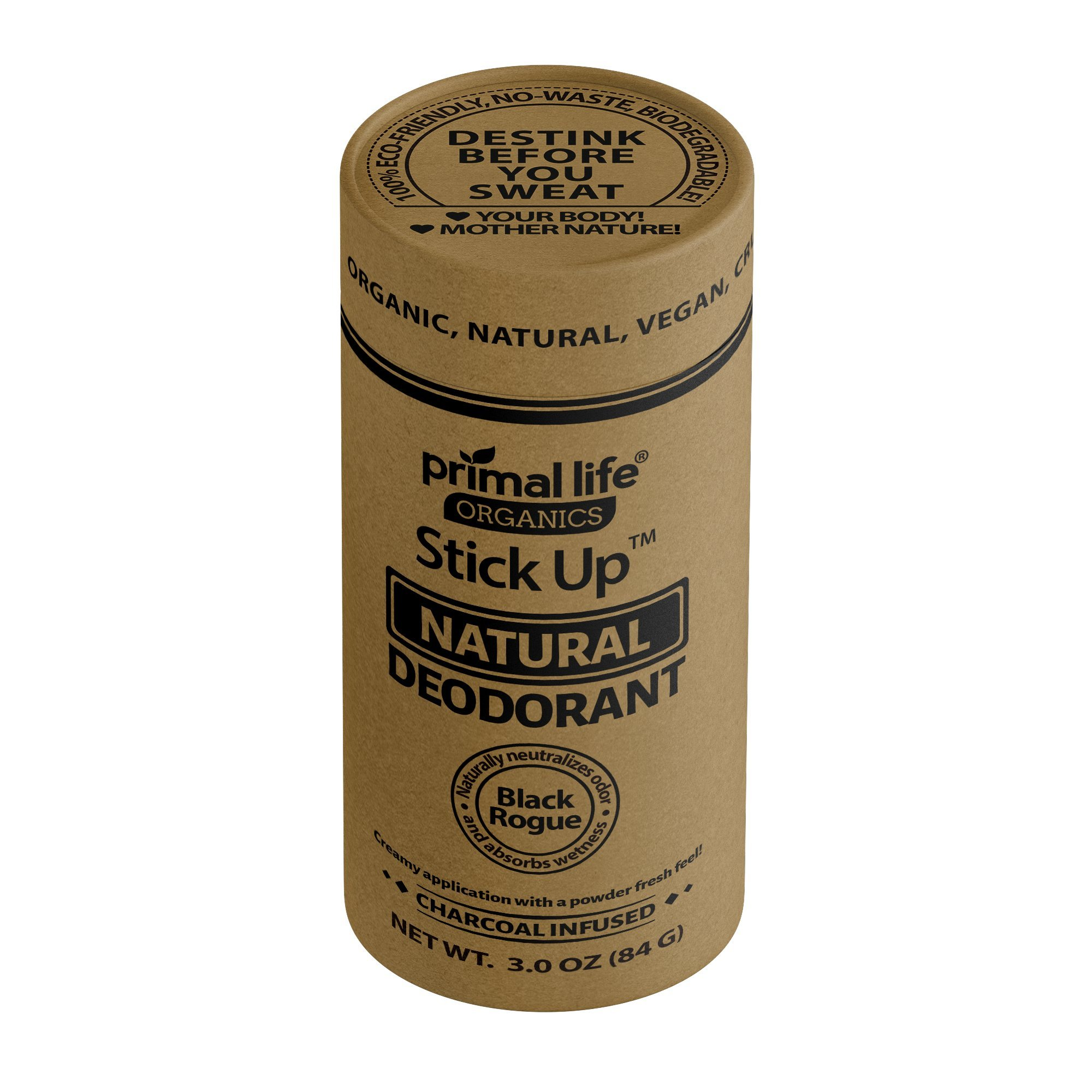 Primal Life Organics | Stick Up Natural Vegan Deodorant | Charcoal Infused and Made with Magnesium and Hemp Seed Oil | No Gluten, Baking Soda or Aluminum | 3 ounces | Black Rogue