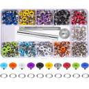 Bememo 400 Sets 3/16 Inch Multi-Color Grommets Kit Metal Eyelets with Installation Tools and Instructor in Clear Box