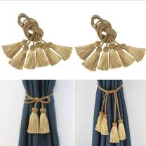 Porlau 6 Pack Curtain Tiebacks Rope Handmade Tassel Tie Backs Curtain Holdbacks for Office Home Decorative Drapery Tiebacks (Gold, 6)