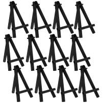 "U.S. Art Supply 5"" Mini Black Wood Display Easel (Pack of 12), A-Frame Artist Painting Party Tripod Easel - Tabletop Holder Stand for Small Canvases, Kids Crafts, Business Cards, Signs, Photos, Gifts"