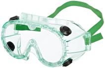 Sellstrom Flexible, Soft, Indirect Vent, Protective Safety Goggle, Green-Tinted Body, Uncoated, Clear Lens, Green Adjustable Strap, S88200